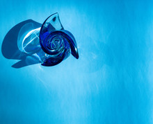 Beautiful Blue Glass Rose On A...