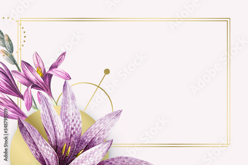Pink amaryllis pattern with gold frame vector Canvas Print