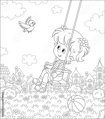 Fototapeta Cheerful little girl swinging with a merry flying birdie on a playground in a summer park of a small pretty town on a sunny warm day, black and white vector cartoon illustration for a coloring book obraz