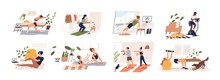 People Doing Exercises With Dumbbell, Squat, Practice Yoga, Cycling. Men, Women, Families And Couples Doing Sports At Home. Home Workout Collection. Vector Illustration In Flat Cartoon Style