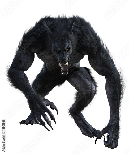 Obraz na płótnie Werewolf isolated on white, 3d render.