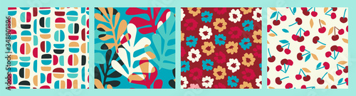 Abstract collection of seamless patterns with flowers, cherry and leaves and geometric shapes - 348801896