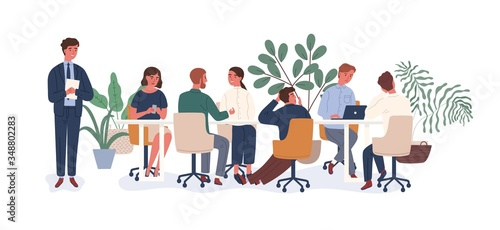 New employee at collective vector flat illustration Wallpaper Mural