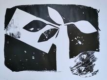 Monoprint Black White Leaves Vase