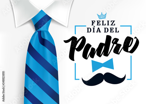 Feliz dia del padre spanish elegant lettering, translate: Happy fathers day. Father day vector illustration with text, crown and mustache. Congratulation card or sale banner