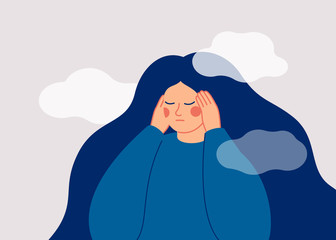 The sad woman touches her temples with her hands and suffers from a headache. A depressed girl suffers from temporary memory loss and confusion. Vector illustration
