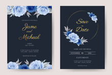 Wedding Invitation Card Blue Rose With Gold Circle Frame.