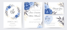 Navy Blue Rose And Peony Wedding Invitation Cards With Golden Flowers. Template Set Card.
