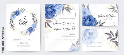 Navy blue rose and peony wedding invitation cards with golden flowers Fototapete