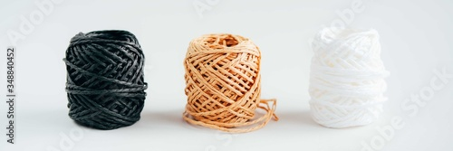 Fotografie, Tablou Balls of yarn on gray background