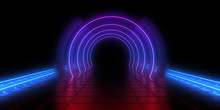 3D Abstract Background With Ne...