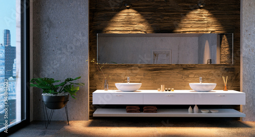 Fotografia 3D render of bathroom vanity with stone tiles.