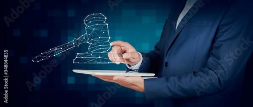 Obraz na plátně man hand tablet and judge icon