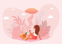 Picnic Outdoor In Nature, Pink...
