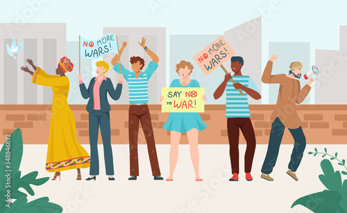 Rally protest people crowd with placards, political protestating demonstration, group of multinational demonstrators on march isolated on white flat vector illustration Wallpaper Mural