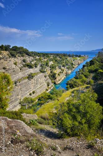 Fotografia, Obraz Corinth Canal, tidal waterway across the Isthmus of Corinth in Greece, joining t