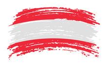 Austria Torn Flag In Grunge Brush Stroke, Vector