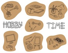 Outline Doodle Hobbies Set. St...