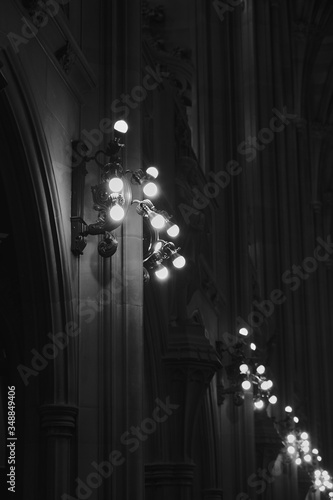 john rylands public universitary library in Greathern Manchester City moody lights