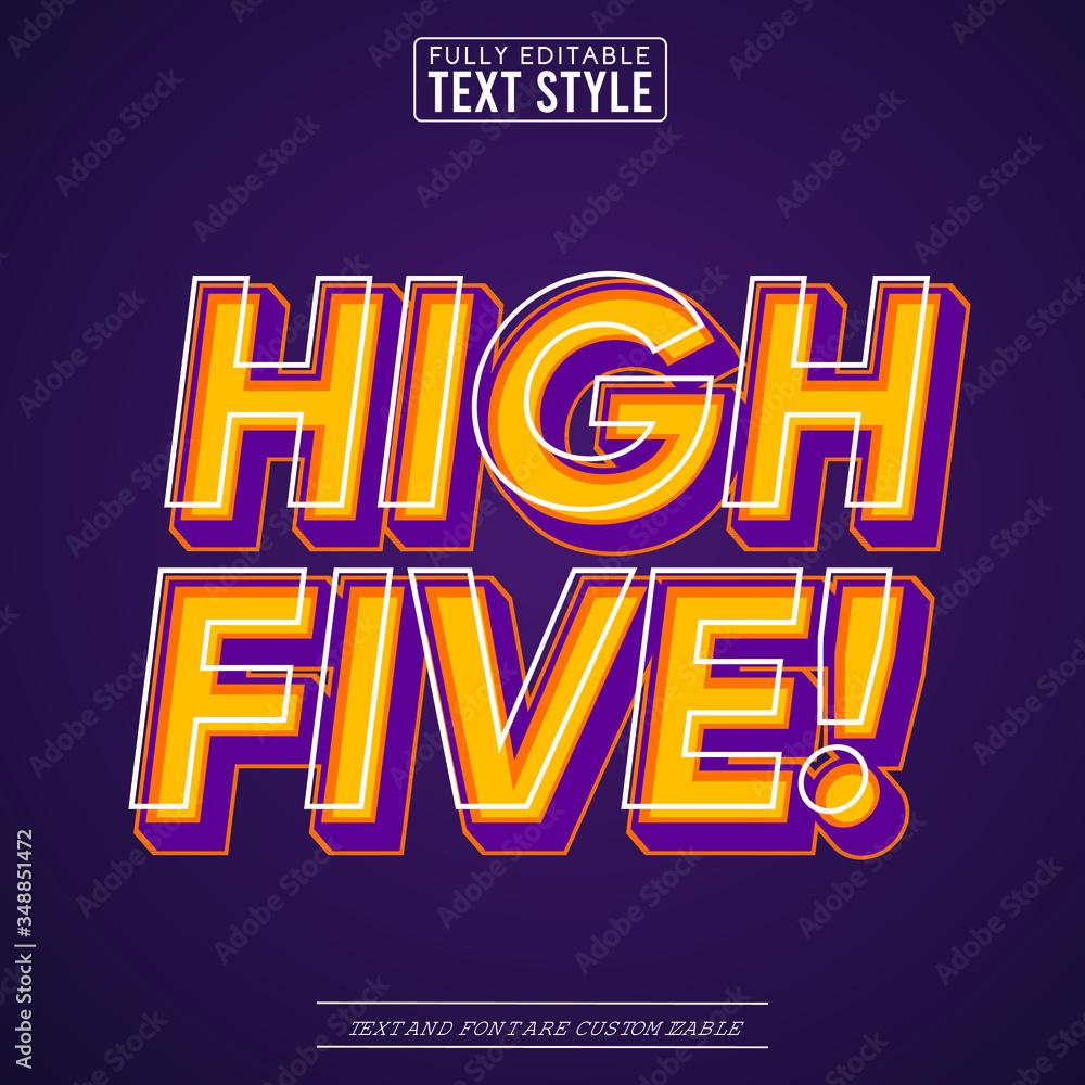 Fototapeta High Five Trendy Pop Art Vector Text Effect