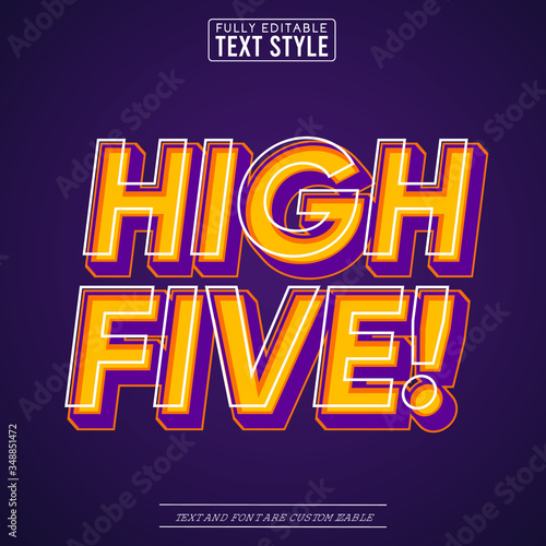 High Five Trendy Pop Art Vector Text Effect - 348851472