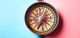 Travel concept. Vintage compass on passport.