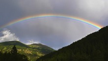 Low Angle View Of Rainbow Over Mountains Against Cloudy Sky