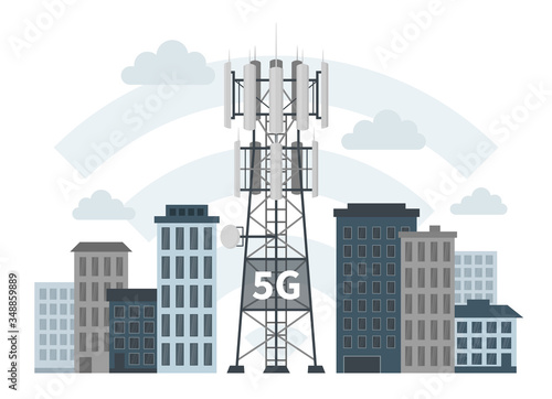 Fotografering 5G mast base station in smart city on white background, flat vector illustration of mobile data towers as innovative technology, telecommunication antennas and signal, cellular equipment