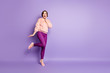 Leinwanddruck Bild - Full size photo of amazed excited girl hear incredible black friday bargain news scream touch hand palm cheeks wear good looking clothes isolated over violet color background