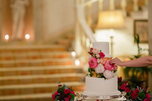 A Wedding Cake Decorated With ...