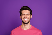 Close-up Portrait Of His He Nice Attractive Cheerful Cheery Glad Brunette Unshaven Guy Isolated Over Bright Vivid Shine Vibrant Violet Lilac Purple Color Background