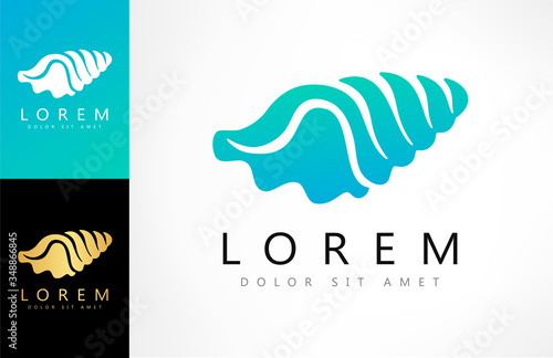 Canvas Print Shell Logo. Mollusk vector. Design vector illustration.
