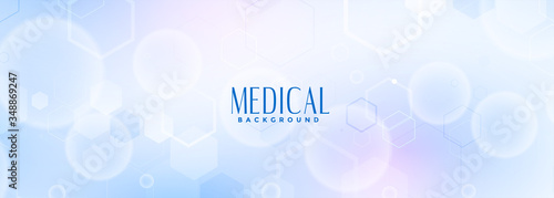 Photo medical science and healthcare blue banner design