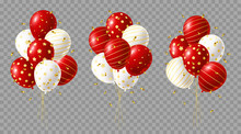 Set Of Red And White Balloons Bunches With Golden Confetti On Transparent Background