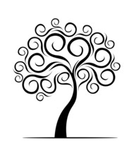 Black Decorative Tree Of Life. Silhouette Shape With Leaves. Vector Outline Illustration. Plant In Garden. Royalty Free Vector Object.