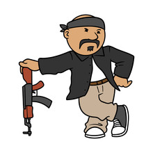 Cartoon Mexican Gangster With ...