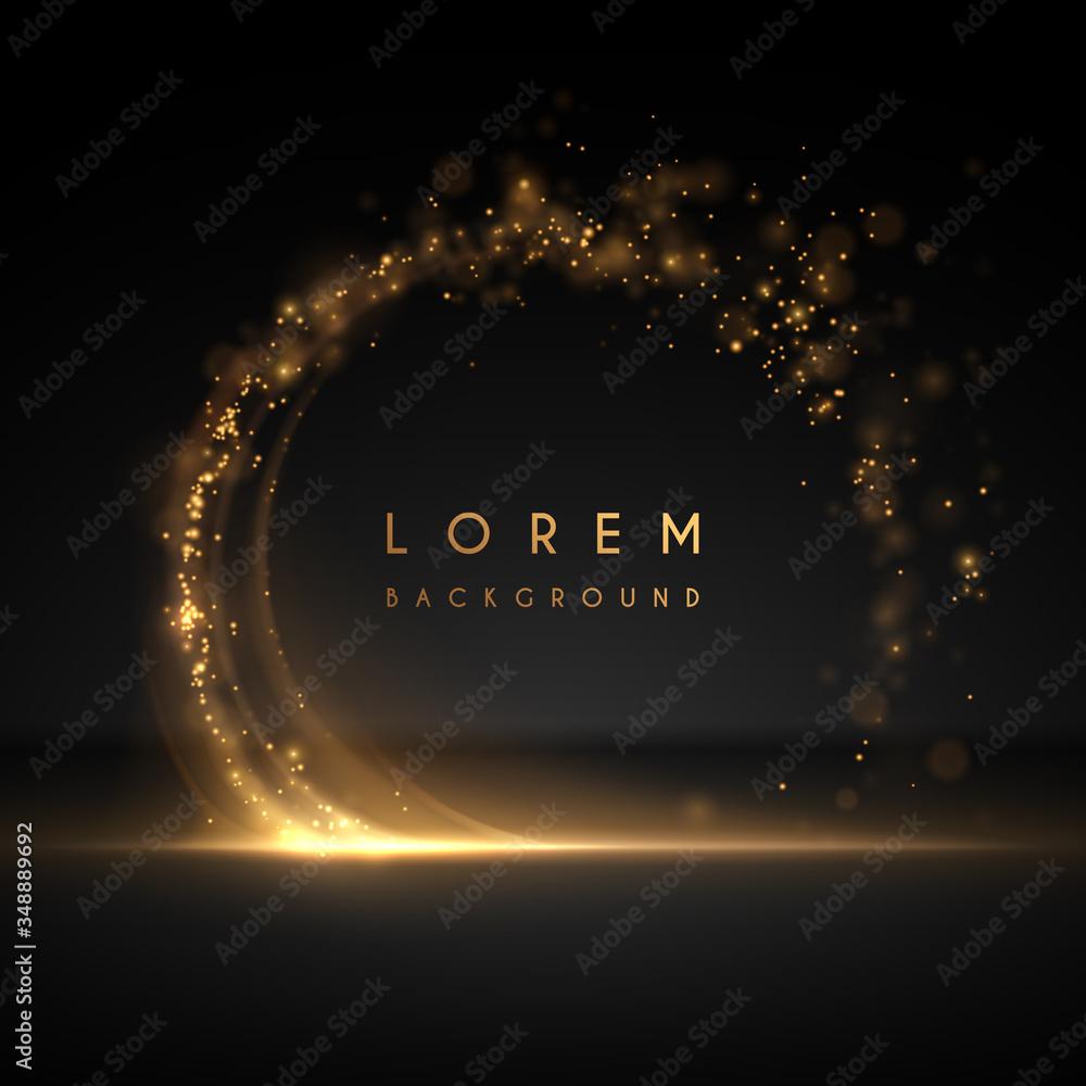 Fototapeta Abstract gold circle light background