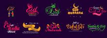 Eid Mubarak Design Set With Arabic Calligraphy Uses It For Emblem, Badges, Typography, Mug, T-shirts, Calligraphy, Social Media Posts, Banner, Advertisement, Poster, Etc.