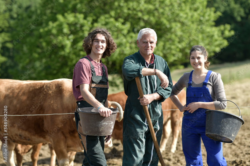 Fototapeta Young people spending green vacation at the farm