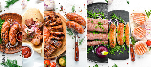 Fototapeta Photo collage. Set of baked steaks, meat and sausages with spices and vegetables. Top view. obraz