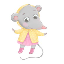 A Cute Little Cartoon Mouse Stands On Its Hind Legs