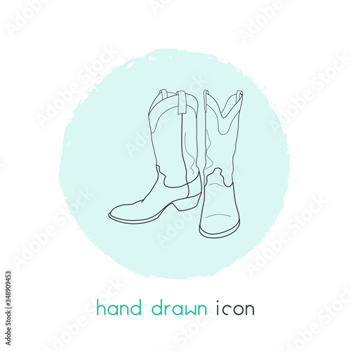 Cowboy boots icon line element Canvas-taulu