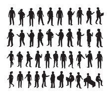 Isometric 3d Illustration Set Silhouettes Of People