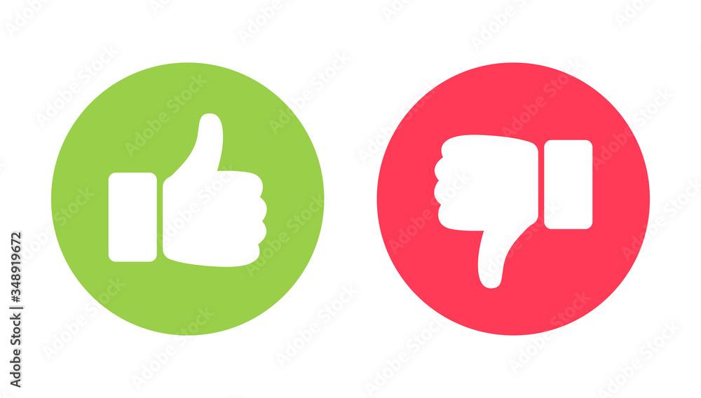 Fototapeta Thumb up and thumb down flat icon. Vector illustration