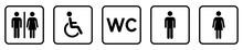 Toilet Sign Set. Restroom Icon. WC Sign. Vector Illustration