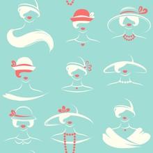 Women's Hats. Seamless Pattern Vector