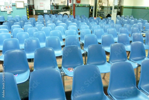 Fototapeta Large Group Of Blue Chairs Indoor obraz