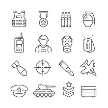 Army Related Icons: Thin Vecto...