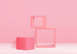 Minimal Podium and scene with 3d render vector in abstract pink background composition, 3d illustration mock up scene geometry shape platform forms for product display. stage for awards in modern.