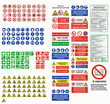 ISO 7010 CARTELLI SEGNALETICA NORME CANTIERI LAVORI, ISO 7010 SIGN WARNING SET SYMBOL SAFETY